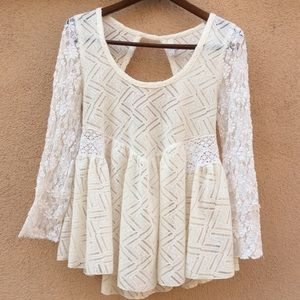 Free People Cream Lace White Long Sleeve Peplum